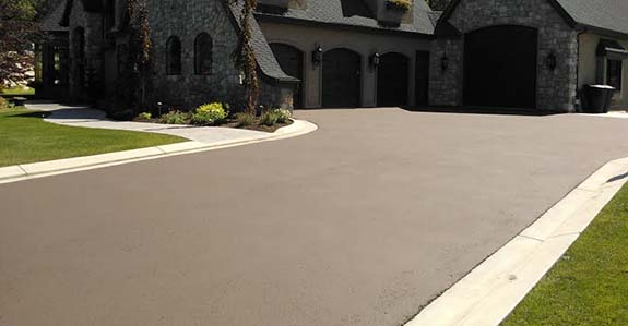 freshly paved driveway